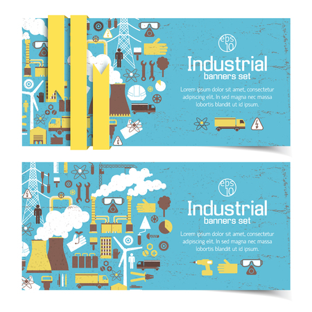 Industrial equipment banners. 向量圖像