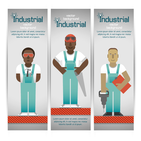 Industrial Workers Banners Set Illustration
