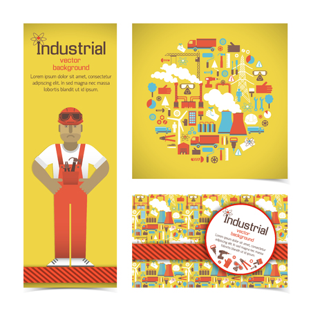 Worker And Industrial Equipment Set Illustration