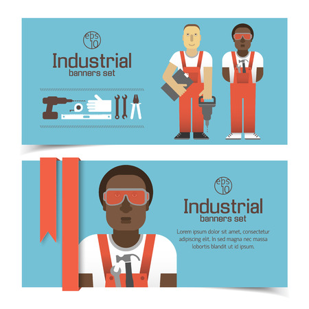 Industrial Banners With Workmen