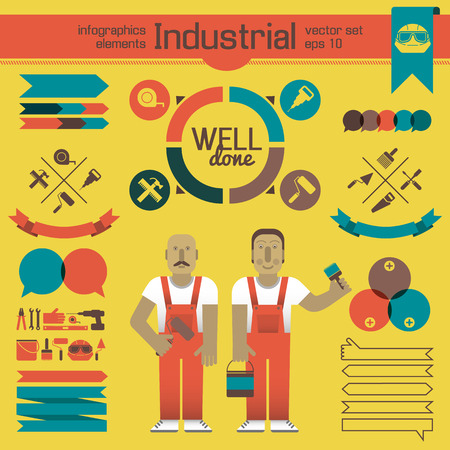 Industrial Workers And Infographics Elements
