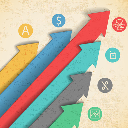 矢印やアイコンのベクトル図とフラット カラフルな抽象的なビジネスの背景  イラスト・ベクター素材