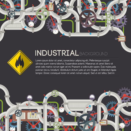 Industrial Manufacturing Poster vector illustration.
