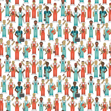 Industrial Workers Seamless Pattern vector illustration.