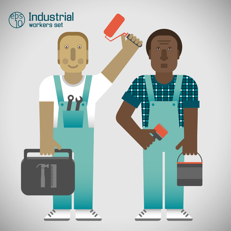 Industrial Workers Flat Style vector illustration.