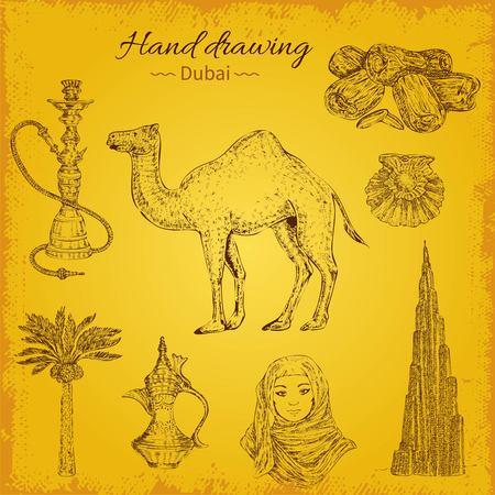 Hand die de uitstekende reeks van de illustratieinzameling van het toerismeconcept van Doubai Elementen trekken Stockfoto - 84825076