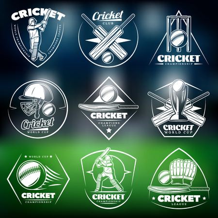 Vintage White Cricket Labels icon Set, vector illustration a green background