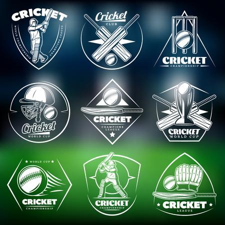 Vintage White Cricket Labels icon Set, vector illustratie een groene achtergrond