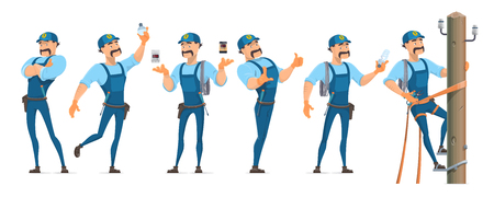 Colorful Electrician Characters Set