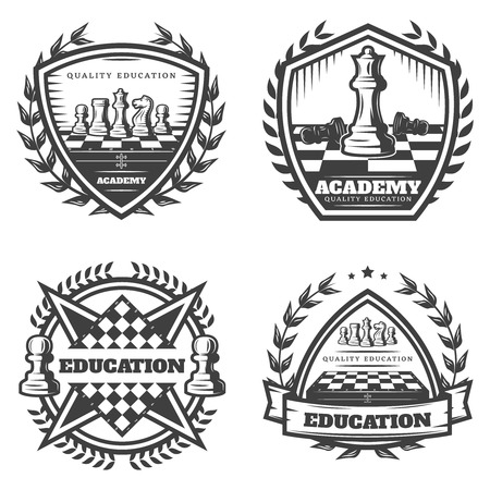 Vintage Monochrome Chess Emblems Set Illustration
