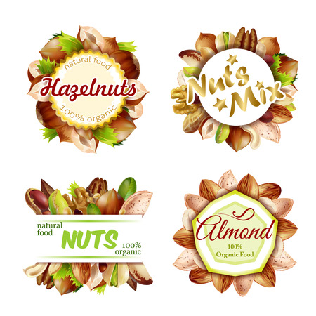 Premium Colorful Natural Nuts Labels Set