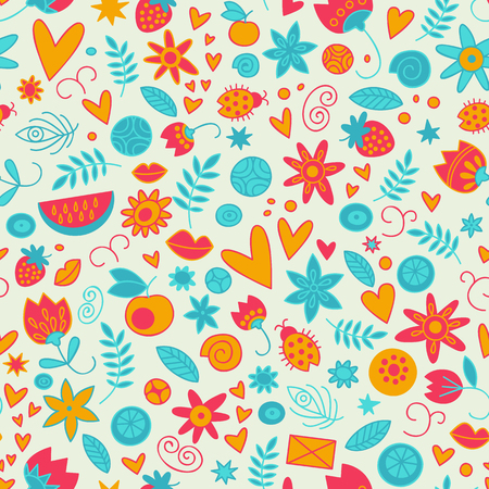 Seamless Doodle Love Pattern Illustration