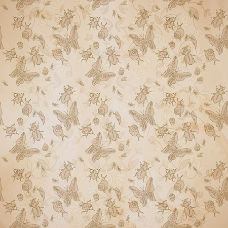 Vintage Natural Seamless Pattern Çizim