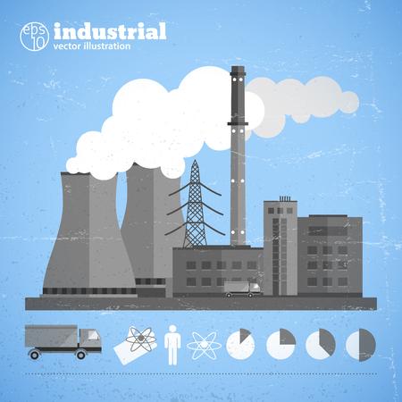 Manufacturing Plant Background Illusztráció