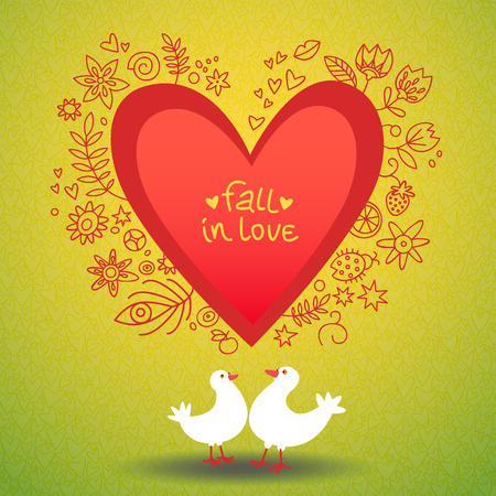 Romantic valentines day love card with two doves and hand drawn pattern around red heart on green background flat vector illustration