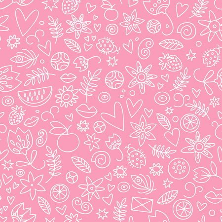 Valentines day seamless doodle love pattern in pink and white colors with hearts flowers leaves and berries vector illustration Illustration