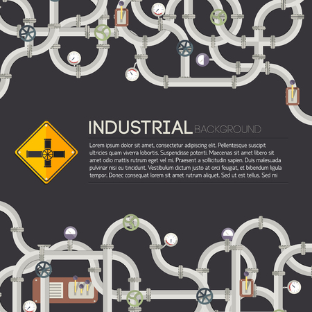 Dark Industrial Background with pipes