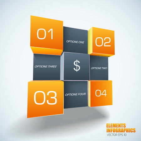Geometric Infographics Template In Boxes with dollar sign  Design