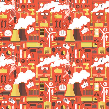 産業プラント赤のシームレスなパターン  イラスト・ベクター素材