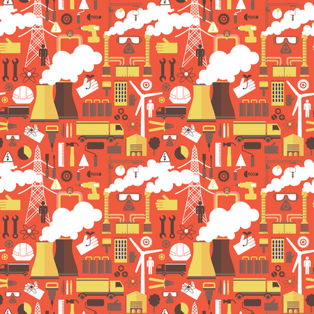 Industrial plant Seamless Red Pattern