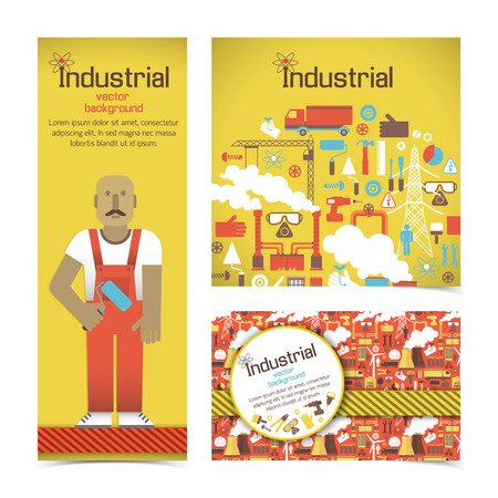 Industrial Equipment And Workman Banners Set