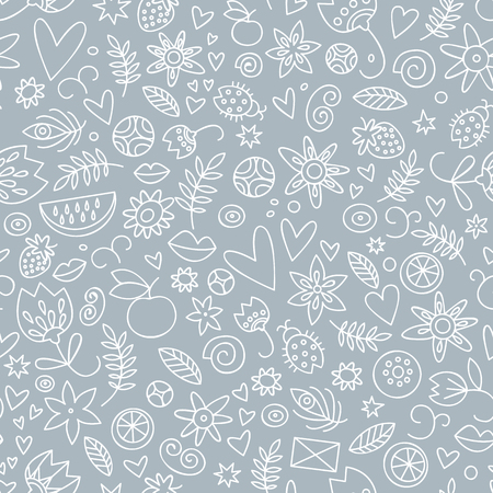 Romantic valentines day doodle love pattern in gray color with berries flowers fruits and hearts vector illustration