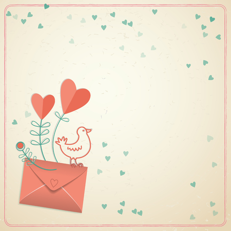 Doodle design valentines day blank gift card with closed envelope birdie and hears on pink illustration Illustration