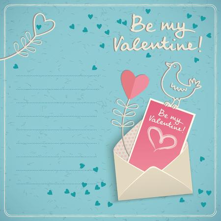 Romantischer Pastell färbt Geschenkkarte für Valentinsgrußtagesglückwunschgekritzel-Vektorillustration Standard-Bild - 84954185