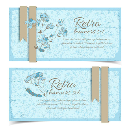 Retro natural horizontal banners with flowers and ribbons