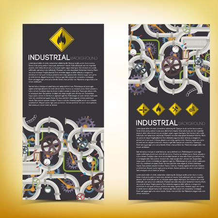 Industriële technologische verticale banners met tekststalen pijpleiding illustratie
