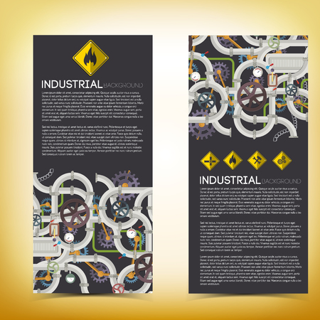 technologic: Industrial technologic vertical banners with text steel pipeline illustration