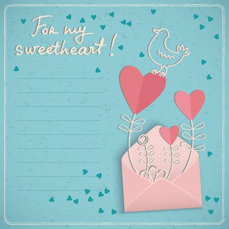 Gekritzelart-Valentinsgrußtagesliebeskarte mit Textfeld und nettem Vogel und Herzen in geöffnetem Umschlag für Schatzvektorillustration Standard-Bild - 84987767