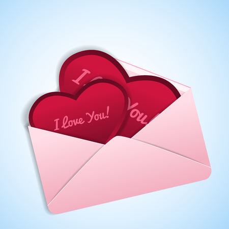 Romantic valentines in shape of red hearts with love confessions in pink envelope on light blue background flat vector illustration