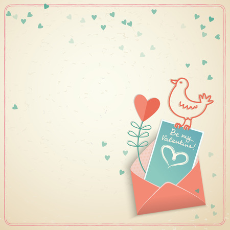Cute valentines day card with bird valentine envelope and hearts on pink background in doodle style vector illustration