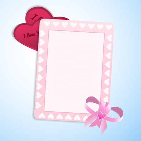 Valentines day love blank postcard with bow and cute frame and valentines with love confession on light blue background flat vector illustration