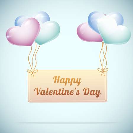 Happy valentines day postcard with cute heart balloons on blue background flat vector illustration