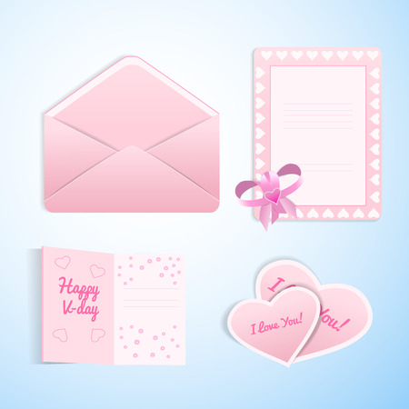 Valentines love set of flat envelope postcards and valentines in white and pink colors in cute romantic design isolated on light blue background vector illustration 向量圖像