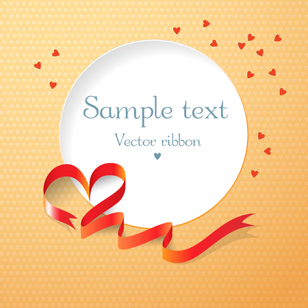 Love postcard with red ribbon and round text field on orange background with hearts flat vector illustration
