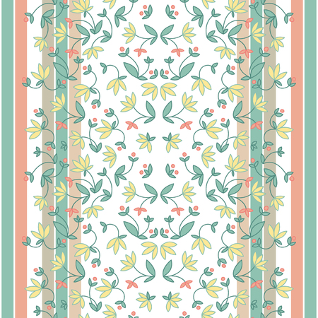 Vintage floral seamless pattern with beautiful colorful flowers on light vertical striped background vector illustration