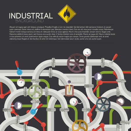 Manufacturing mechanism template with text steel connected pipes valves taps fittings selectors tubes vector illustration Stok Fotoğraf - 84989060