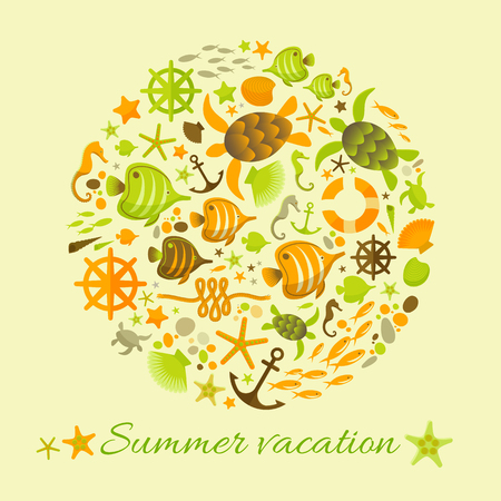 Summer vacation sand color background with marine decorative elements collected in circle flat vector Illustration