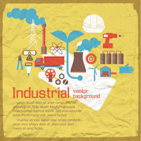 Industrial background with frame painted by brush on rumpled paper in grunge style flat vector illustration