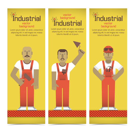 Set of vertical banners with industrial workmen in red overalls on yellow background isolated vector illustration Illustration