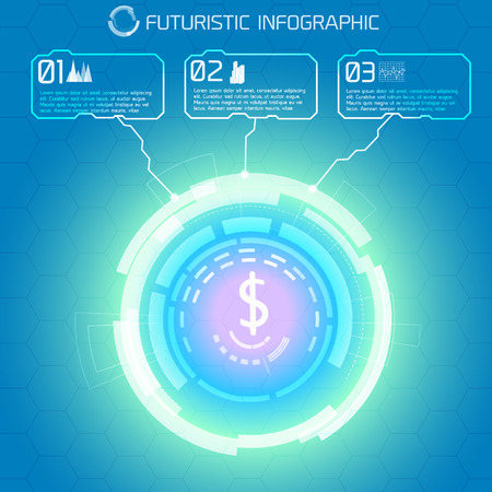 Modern virtual technology conceptual background with decorative light circle and dollar sign with rectangular infographic captions vector illustration