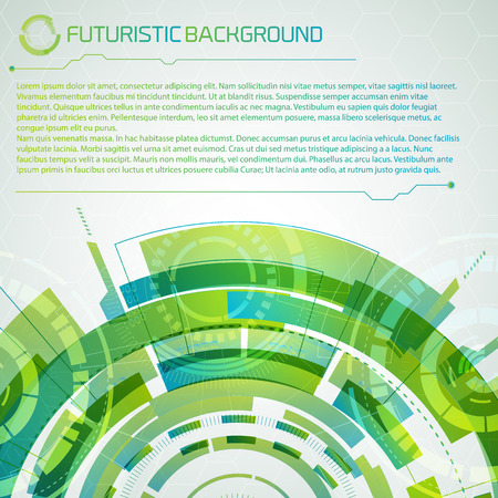 Modern virtual technology conceptual background with futuristic green layered semicircle top title and big place for editable text description vector illustration Illustration