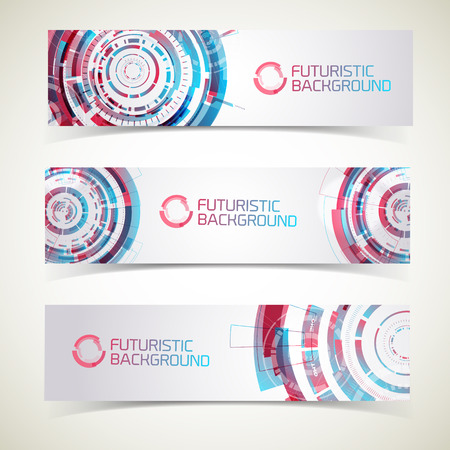Three modern technology horizontal banners set with futuristic background of touch interface interactive elements and text captions vector illustration