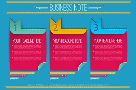 Bedrijfsinfographics met rode genummerde nota's met gebogen hoekpijlen en linten op blauwe vectorillustratie als achtergrond Stock Illustratie
