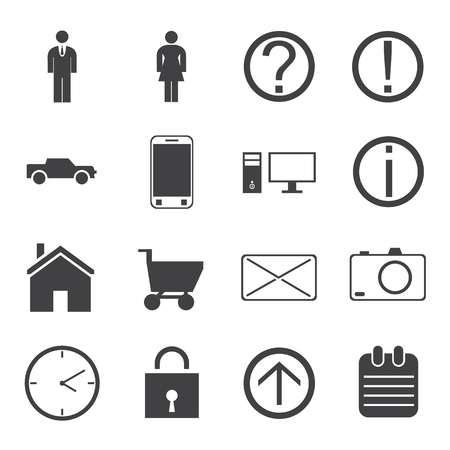 Human activity monochrome icons set with man and woman home car shopping and devices isolated vector illustration Illustration