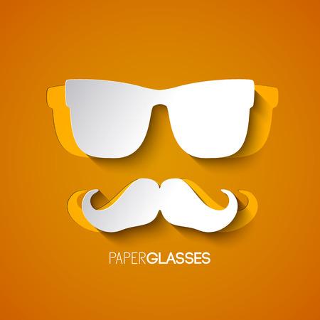 デザインは白い口ひげと用紙スタイルのベクトル図のオレンジ色の背景にヒップスターのグラスから  イラスト・ベクター素材