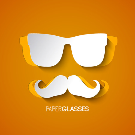 Design from white mustache and glasses of hipster on orange background in paper style vector illustration